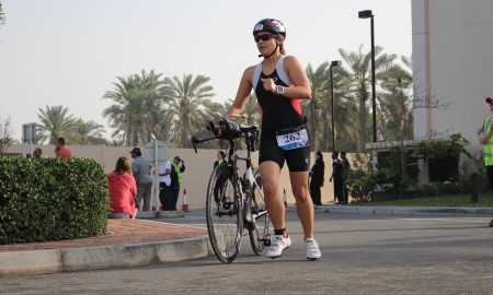Beginner Triathlete in transition