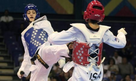 Canada's Melissa Pagnotta, left, and Paige Mcpherson fight during the women's taekwondo -67 kg final match at the Pan American Games in Guadalajara, Mexico, Monday, Oct. 17, 2011. (AP Photo/Martin Mejia)