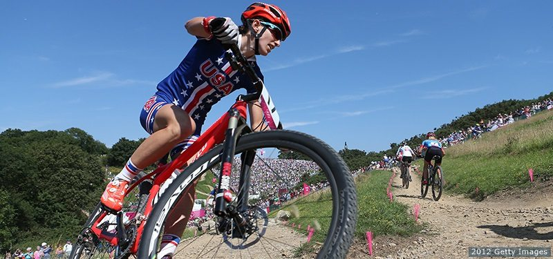HADLEIGH, ESSEX - AUGUST 11: Lea Davison of the United States during the Women's Cross-country Mountain Bike race on Day 15 of the London 2012 Olympic Games at at Hadleigh Farm on August 11, 2012 in Hadleigh, Essex. (Photo by Clive Brunskill/Getty Images)
