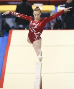 Ellie Black of Halifax in her gold medal routine in beam in artistic gymnastics competition at the PanAmerican Games in Toronto, Wednesday, July 15, 2015. Photo by Mike Ridewood/COC