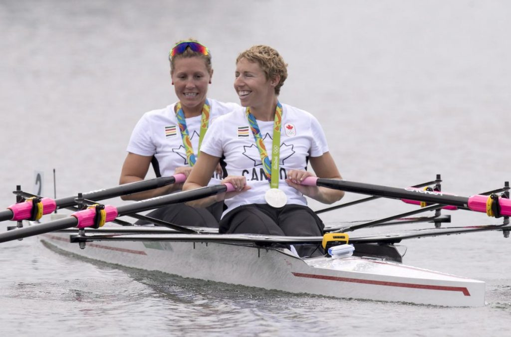 Canadian rowers Lindsay Jennerich and Patricia Obee, right, row away after winning a silver medal in the women's lightweight double sculls at the 2016 Summer Olympics in Rio de Janeiro, Brazil, Friday, Aug. 12, 2016. THE CANADIAN PRESS/Frank Gunn