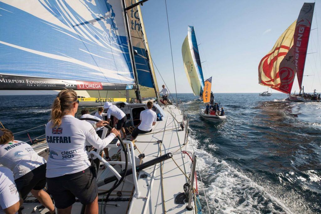 Dee Caffari at the helm, Turn the Tide on Plastic, Volvo Ocean Race
