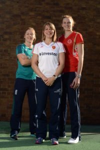 Heather Knight (Cricket), Kate Richardson-Walsh (Hockey), Joanne Harten (Netball) L-R