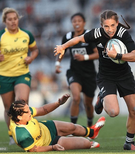 Selica Winiati makes a break for the Black Ferns against the Wallaroos