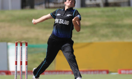 Thamsyn Newton of New Zealand bowls during the 2016 International ODI Womens cricket match between South Africa and New Zealand at Boland Park, Paarl on 24 October 2016 ©Chris Ricco/BackpagePix