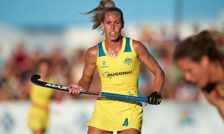 Casey Sablowski of Australia (Hockeyroos) during the match between Hockeyroos (Australia) v Great Britain in the International Hockey Match. Bunbury, Western Australia, 12th February 2016. Photo: Daniel Carson | DCIMAGES.ORG