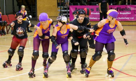 Roller Derby Bout Wellington's Richter City All Stars vs. Sydney's Assassins at the TSB Bank Arena on March 19, 2011.