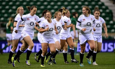 England women's rugby union team celebrate